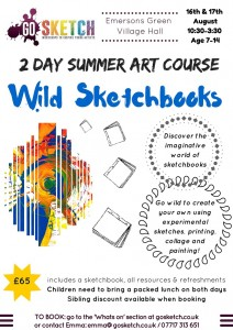WILD SKETCHBOOKS 2 day summer course @ Emersons Green Village Hall   Emersons Green   United Kingdom