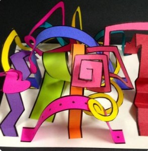 Art birthday party for children in Bristol making amazing paper sculptures