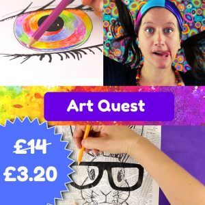 Online Art Quest art course. !2 art challenges to do at home for kids and beginner adults