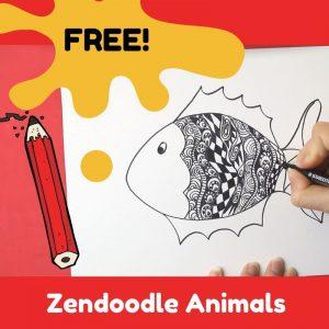 free online art class zendoodle animals for kids or beginner adults