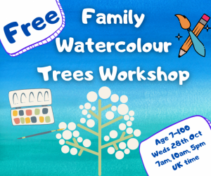 Watercolour Trees workshop for children and families @ Online via Zoom