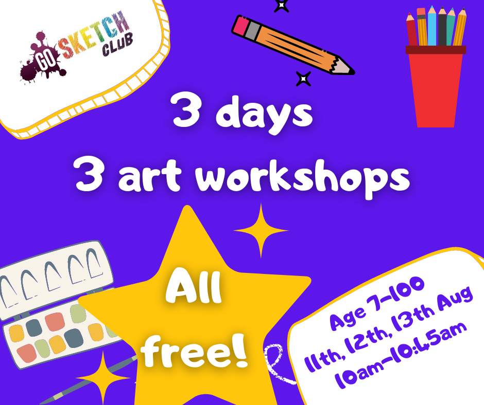 3 free art workshops with go sketch