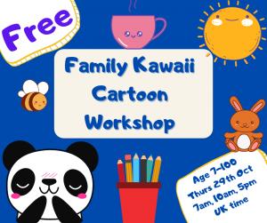 Kawaii Cartooning workshop for children and families @ Online via Zoom