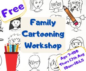Cartooning art workshop for children and families @ Online via Zoom